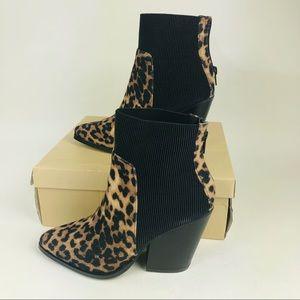 YOKI Alexie-11 Leopard Print Pointed Toe Boots 7